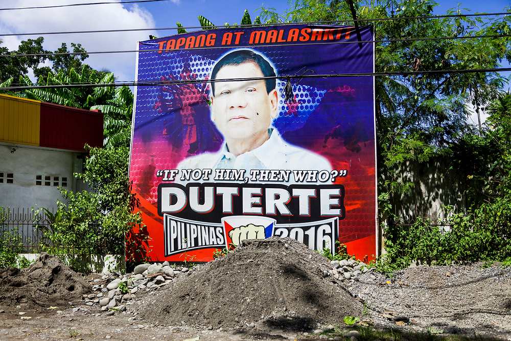 Samal Island, Mindanao, Philippines - JUNE 23: A poster in support of President Duterte is seen posted on a busy street on Samal Island.