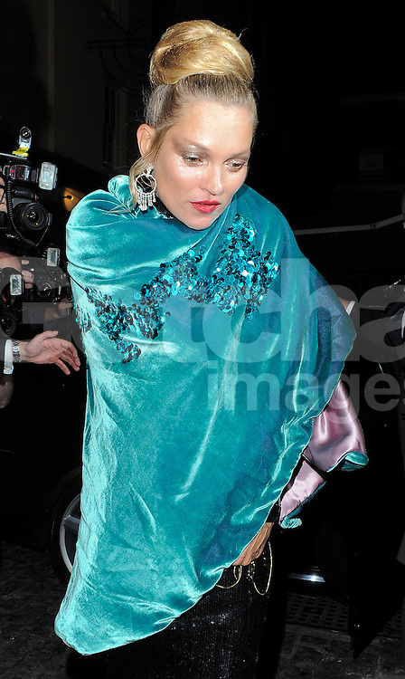 Supermodel Kate Moss arriving at the LFW AnOther Magazine party at Loulou's private members club in Mayfair, London, UK. 15/09/2014<br />