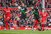 Bojan Krkić (Stoke City) scores Stoke's opening goal to equalise, 1-1 during the Barclays Premier League match between Liverpool and Stoke City at Anfield, Liverpool, England on 10 April 2016. Photo by Mark P Doherty.