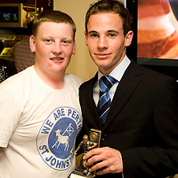 PSJ supporters club awards....<br /> Kevin Moon receives young player of the year award from Lee Kellman<br /> Picture by Graeme Hart.<br /> Copyright Perthshire Picture Agency<br /> Tel: 01738 623350  Mobile: 07990 594431