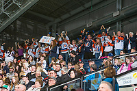 KELOWNA, CANADA - MARCH 31: Kamloops Blazers' fans stand up and celebrate a goal against the Kelowna Rockets on March 31, 2017 at Prospera Place in Kelowna, British Columbia, Canada.  (Photo by Marissa Baecker/Shoot the Breeze)  *** Local Caption ***