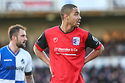Barrow's Byron Harrison during the The FA Cup match between Bristol Rovers and Barrow at the Memorial Stadium, Bristol, England on 4 December 2016. Photo by Shane Healey.