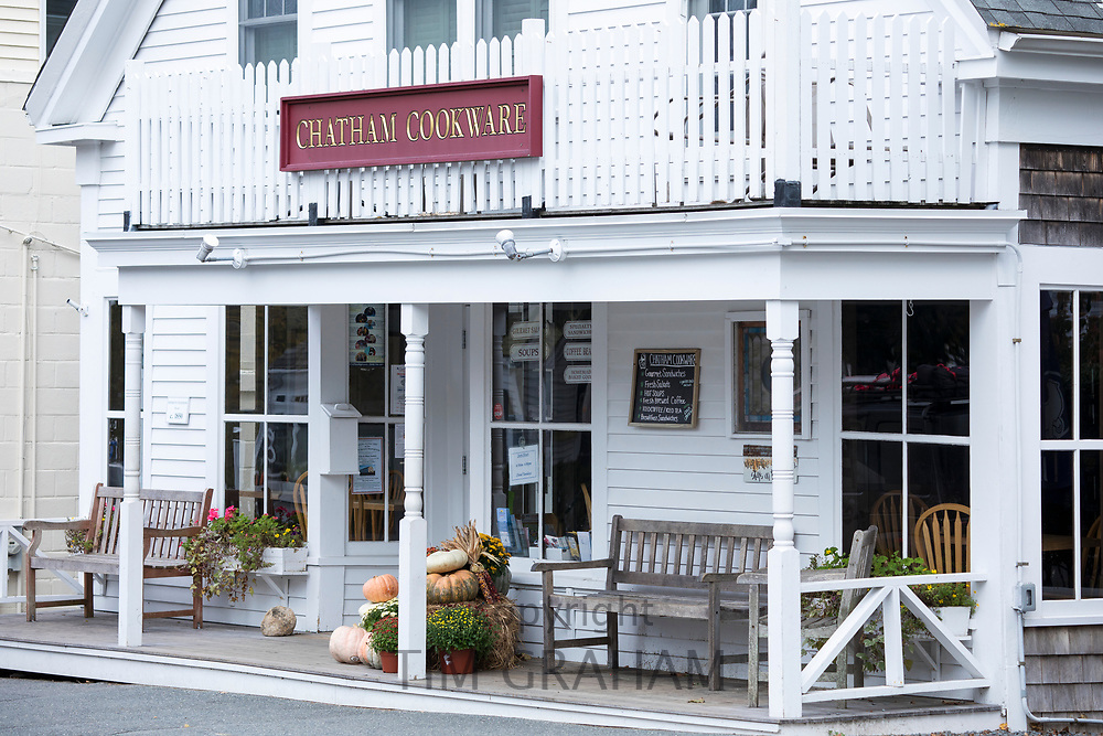 Chatham Cookware store, a shop with traditional decking  in the High Street at Chatham, Cape Cod New England, USA