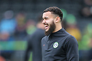 Forest Green Rovers Dominic Bernard(3) all smiles as he warms up during the EFL Sky Bet League 2 match between Forest Green Rovers and Swindon Town at the New Lawn, Forest Green, United Kingdom on 21 December 2019.