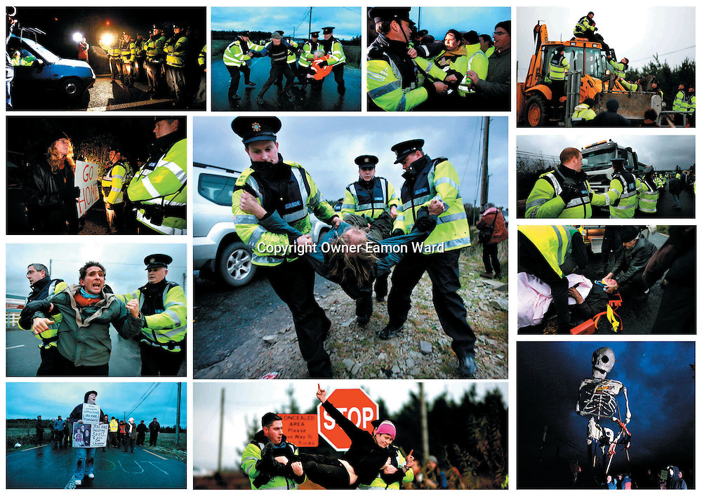 """Gardai and Anti-Shell Protestors Clash at """"a day of action"""" organised at the Shell plant in Bellanaboy,Co Mayo.."""