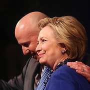 Democratic Presidential Candidate HILLARY CLINTON stands with Delaware Governor Jack Markell prior speaking to supporters one day before Delaware's Tuesday primary's Monday April. 26, 2016, at World Café Live at the Queen in Wilmington Delaware.