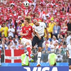 Kasper Dolberg of Denmark and Steven Nzonzi of France during the FIFA World Cup Group C match between Denmark and France at Luzhniki Stadium on June 26, 2018 in Moscow, Russia. (Photo by Anthony Dibon/Icon Sport)