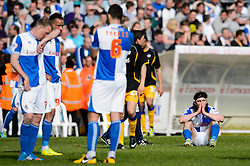 John-Joe O'Toole (IRL) of Bristol Rovers looks dejected after a 0-1 loss in the match to confirm their sides relegation from League 2 into the Conference division - Photo mandatory by-line: Rogan Thomson/JMP - 07966 386802 - 03/05/2014 - SPORT - FOOTBALL - Memorial Stadium, Bristol - Bristol Rovers v Mansfield Town - Sky Bet League Two. (Note: Mansfield are wearing a Rovers spare kit having forgotten their own).