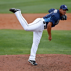 March 8, 2011; Port Charlotte, FL, USA; Tampa Bay Rays relief pitcher Joel Peralta (62) during a spring training exhibition game against the Toronto Blue Jays at Charlotte Sports Park.   Mandatory Credit: Derick E. Hingle