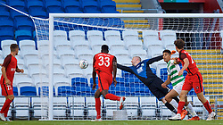 CARDIFF, WALES - Thursday, August 9, 2018: FC Midtjylland's Paul Onuachu scores the first goal during the UEFA Europa League Third Qualifying Round 1st Leg match between The New Saints FC and FC Midtjylland at Cardiff City Stadium. (Pic by David Rawcliffe/Propaganda)