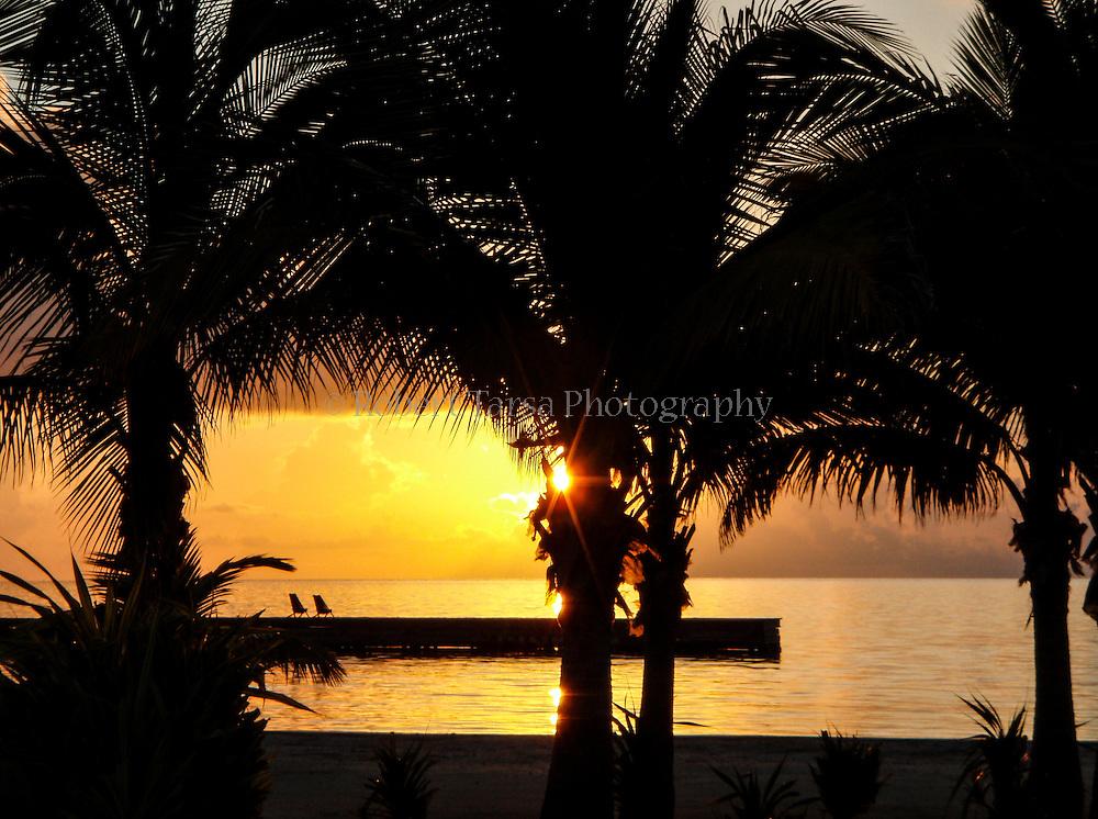 Sunrise over the Belize coastline.