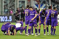 """Fiorentina players defeated at the end of the match<br /> Jorgensen, Gamberini, Mutu, Ujfalusi, Montolivo, Gobbi, Semioli, Liverani delusione alla fine della partita<br /> Firenze 1/5/2008 Stadio """"Artemio Franchi"""" <br /> Uefa Cup 2007/2008 Semifinals - Semifinale second Leg<br /> Fiorentina Rangers Glasgow (0-0) (2-4 a.p.)<br /> Foto Andrea Staccioli Insidefoto"""