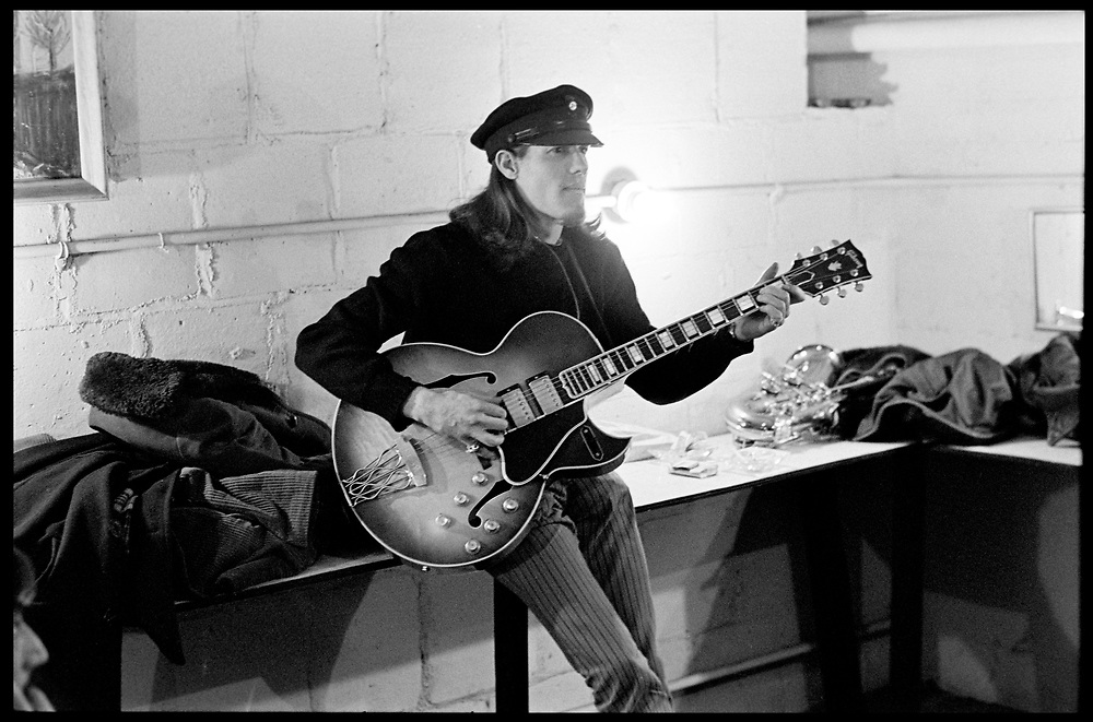 """Fall River, Massachusetts - 18 February 1968. Jim """"Motorhead"""" Sherman of The Mothers of Invention prior to a performance. © 2020 Ed Lefkowicz<br /> <br /> For licensing of any of the images in this portfolio go to https://www.mptvimages.com/<br /> <br /> For fine art prints, get in touch with me directly."""