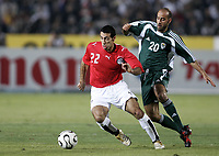 Fotball<br /> Foto: Dppi/Digitalsport<br /> NORWAY ONLY<br /> <br /> AFRICAN CUP OF NATIONS 2006 - FIRST ROUND - GROUP A - EGYPT v LIBYA<br /> <br /> MOHAMED ABOU TERIKA (EGY) / IBRAHIM REWANI (LIB)