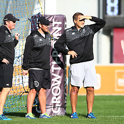 Sean Everitt (Assistant Coach) of the Cell C Sharks with Jaco Pienaar (Assistant Coach) of the Cell C Sharks and Robert du Preez (Head Coach) of the Cell C Sharks during The Cell C Sharks captain's run at Growthpoint Kings Park in Durban, South Africa. 29th June 2017(Photo by Agnes Browne Steve Haag Sports)<br /> <br /> images for social media must have consent from Steve Haag