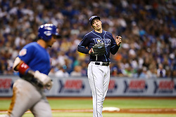 September 20, 2017 - St. Petersburg, Florida, U.S. - WILL VRAGOVIC   |   Times.Tampa Bay Rays starting pitcher Blake Snell (4) pitches out of a bases loaded situation in the fifth inning of the game between the Chicago Cubs and the Tampa Bay Rays at Tropicana Field in St. Petersburg, Fla. on Wednesday, Sept. 20, 2017. (Credit Image: © Will Vragovic/Tampa Bay Times via ZUMA Wire)