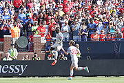 Liverpool striker Sadio Mane celebrates his goal 0-1 during the Manchester United and Liverpool International Champions Cup match at the Michigan Stadium, Ann Arbor, United States on 28 July 2018.
