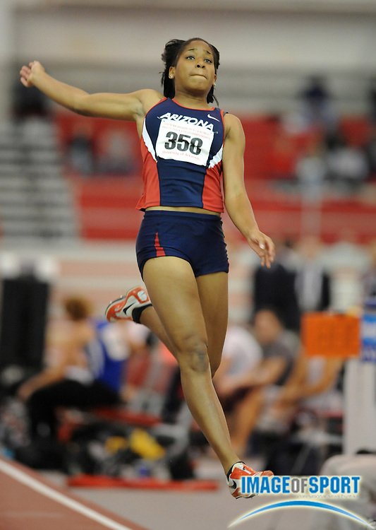 Mar 15, 2008; Fayetteville, AR, USA; Shevell Quinley of Arizona sailed 20-3 (6.17m) in the pentathlon long jump for 902 points in the NCAA indoor track and field championships at the Randal Tyson Center. Quinley finished third with 4,256 points.