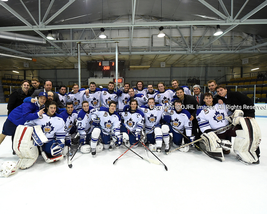 MARKHAM, - Feb 26, 2016 -  Ontario Junior Hockey League game action between Stouffville and Markham at the Markham Centennial Community Centre, ON. Markham Royals North Division Champions for the 2015-2016 season.<br /> (Photo by Andy Corneau / OJHL Images)