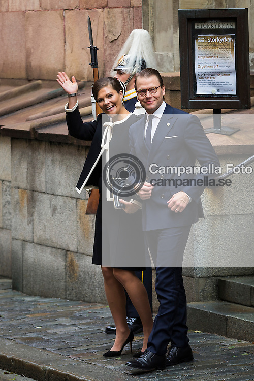 STOCKHOLM, SWEDEN - SEPTEMBER 15: Crown Princess Victoria and Prince Daniel of Sweden depart after attending service at the Church of St. Nicholas  in connection with the opening of the parliamentary session on September 15, 2015 in Stockholm, Sweden. (Photo by Michael Campanella/Getty Images)