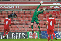 WREXHAM, WALES - Wednesday, August 20, 2008: Wales' goalkeeper Wayne Hennessey in action against Romania during the UEFA Under 21 European Championship Qualifying Group 10 match at the Racecourse Ground. (Photo by David Tickle/Propaganda)
