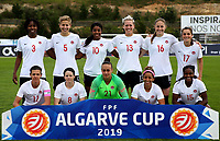International Women's Friendly Matchs 2019 / <br /> Womens's Algarve Cup Tournament 2019 - <br /> Canada v Iceland 0-0 ( Municipal Bela Vista Stadium - Parchal,Portugal ) - <br /> Team of Canada ,prior the Match ,from the left up :Kadeisha Buchanan ,Rebecca Quinn ,Ashley Lawrence ,Sophie Schmidt ,Janine Beckie ,Jessie Fleming // Christine Sinclair ,Diana Matheson ,Kailen Sheridan ,Desiree Scott ,Nichelle Prince
