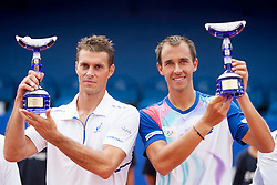 Frantisek Cermak and Lukas Rosol of Czech Republic during flower ceremony after final of doubles at 25th Vegeta Croatia Open Umag, on July 27, 2014, in Stella Maris, Umag, Croatia. Photo by Urban Urbanc / Sportida