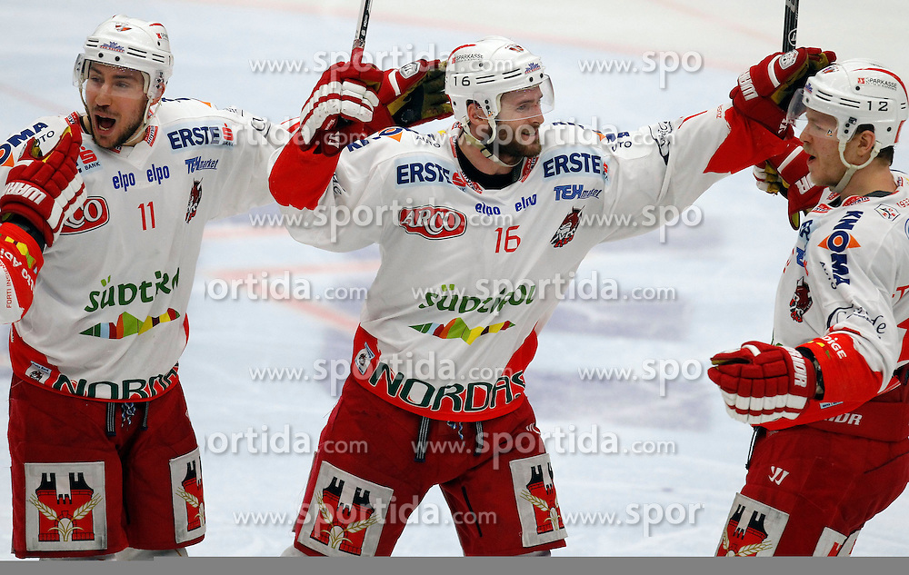 30.03. 2014, Stadthalle, Villach, AUT, EBEL, EC VSV vs HCB Suedtirol, Playoff Halbfinale 4. Runde, im Bild der Jubel von Mark Santorelli (HCB Suedtirol,#11), MacGregor Sharp (HCB Suedtirol,#16) und Kim Stroemberg (HCB Suedtirol,#12) // during the Erste Bank Icehockey League Playoff Semifinal 4th Round match between EC VSV vs HCB Suedtirol at the City Hall, Villach, Austria, 2014/03/30, EXPA Pictures © 2014, PhotoCredit: EXPA/ Oskar Hoeher