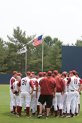the Lafayette Leopards Baseball Team meets in the outfield before facing #23 Rutgers.  The Lafayette Leopards fell to the the Rutgers Scarlet Knights 11-10 in their second game of the NCAA World Series Regional held at Davenport Field in Charlottesville, VA on June 2, 2007.