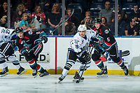 KELOWNA, CANADA - OCTOBER 5:  Dante Hannoun #19 of the Victoria Royals skates with the puck against the Kelowna Rockets on October 5, 2018 at Prospera Place in Kelowna, British Columbia, Canada.  (Photo by Marissa Baecker/Shoot the Breeze)  *** Local Caption ***