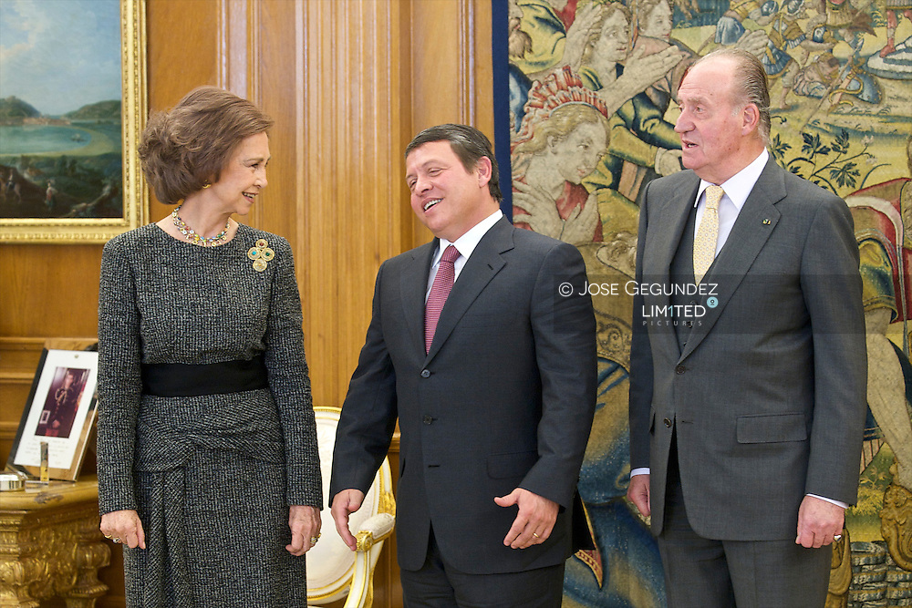 The Kings of Spain, Juan Carlos and Sofia and Princess of Asturias, Felipe and Letizia attend the lunch with King Abdullah II of Jordan