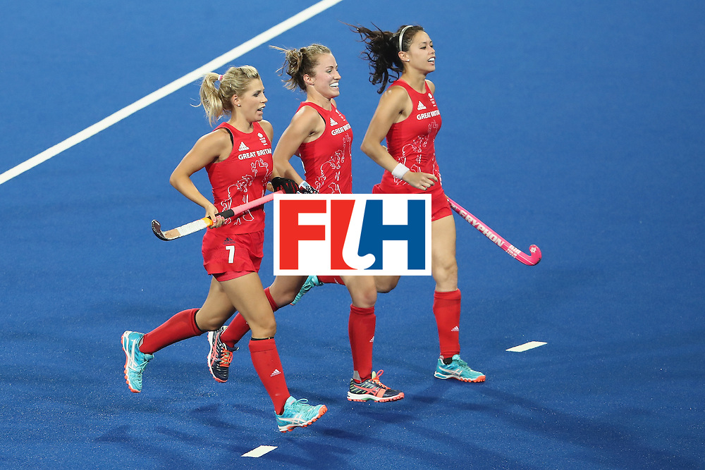 RIO DE JANEIRO, BRAZIL - AUGUST 17:  The Great Britain team celebrate a goal during the womens semifinal match between the Great Britain and New Zealand on Day 12 of the Rio 2016 Olympic Games at the Olympic Hockey Centre on August 17, 2016 in Rio de Janeiro, Brazil.  (Photo by Mark Kolbe/Getty Images)