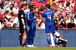 Chelsea manager Antonio Conte speaks to Cesc Fabregas of Chelsea - Mandatory by-line: Robbie Stephenson/JMP - 06/08/2017 - FOOTBALL - Wembley Stadium - London, England - Arsenal v Chelsea - FA Community Shield