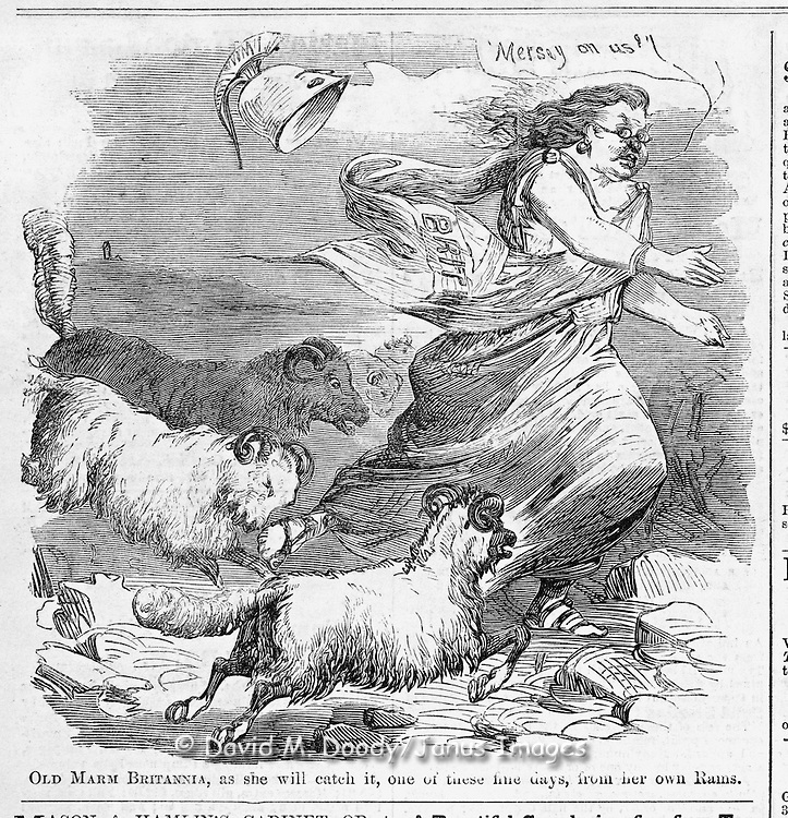 """Civil War: Political Cartoon """"Old Marm Brittania, as she will catch it, one of the fine days from her own Rams.""""  and advertisments Harper's Weekly October 3, 1863     Page 640."""