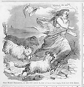 "Civil War: Political Cartoon ""Old Marm Brittania, as she will catch it, one of the fine days from her own Rams.""  and advertisments Harper's Weekly October 3, 1863     Page 640."