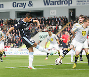 Luka Tankulic's shot is blocked- St Mirren v Dundee, SPFL Premiership at St Mirren Park<br /> <br />  - &copy; David Young - www.davidyoungphoto.co.uk - email: davidyoungphoto@gmail.com
