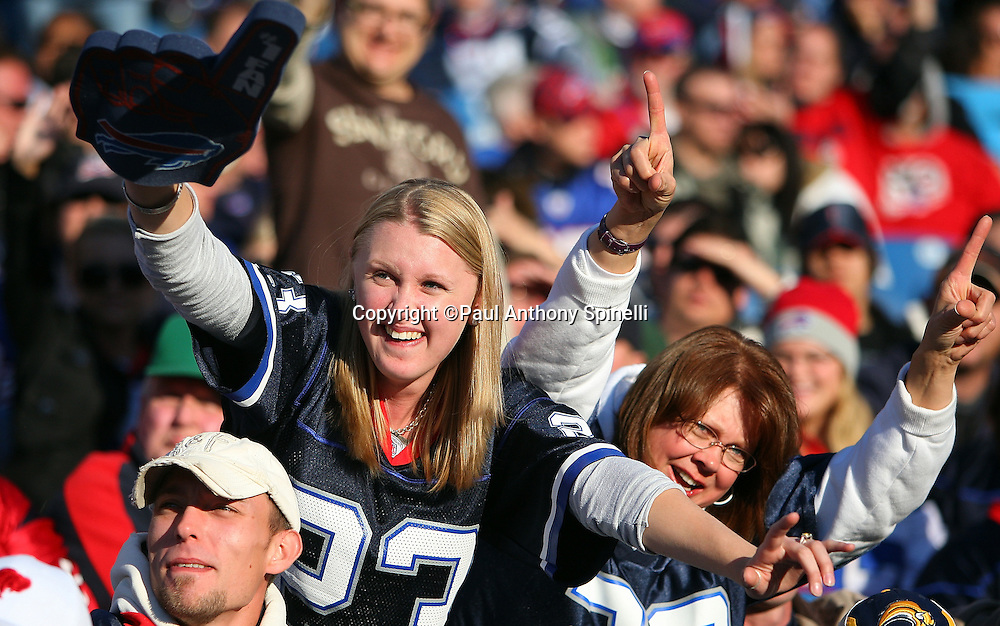 Buffalo Bills fans cheer for their team during the NFL football game against the Houston Texans, November 1, 2009 in Orchard Park, New York. The Texans won the game 31-10. (©Paul Anthony Spinelli)