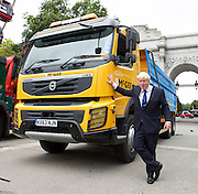 Boris Johnson MP <br /> Mayor of London launches Britain&rsquo;s first Safer Lorry Scheme at Marble Arch, London, Great Britain <br /> 1st September 2015 <br /> <br /> Boris Johnson <br /> <br /> Safer lorries displayed at Marble Arch &amp; Boris Johnson outlines ways in which the scheme will be developed in the future. <br />  <br /> Under the new scheme, most vehicles which are currently exempt from national legislation for basic safety equipment will have to be retrofitted to drive on London&rsquo;s roads. This includes construction vehicles, which are involved in a disproportionate number of fatal collisions involving cyclists and pedestrians.<br /> <br /> Photograph by Elliott Franks <br /> Image licensed to Elliott Franks Photography Services