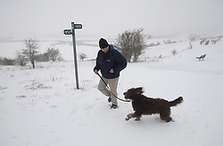 © Licensed to London News Pictures. 05/02/2012. Dunstable, UK. A man walking his dog across a snow covered Dunstable Downs in Bedfordshire, on February 5th, 2012. Photo credit : Ben Cawthra/LNP
