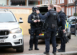 © Licensed to London News Pictures. 18/01/2019. London, UK. Armed police officers at the scene  in Balham, south London where police are negotiating with a man who is inside the house with a knife. Photo credit: Peter Macdiarmid/LNP