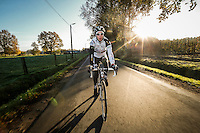 German cyclocross pro rider Philipp Walsleben of BKCP-Powerplus team of BKCP-Powerplus team during a training session, in Aarschot, November 20, 2013.  Babylonia/Thierry Roge