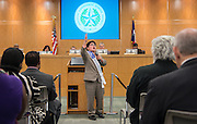 Richard Espinoza Garza recites his Martin Luther King, Jr. Oratory award winning speech during the Houston ISD Board of Trustees meeting, February 11, 2016.