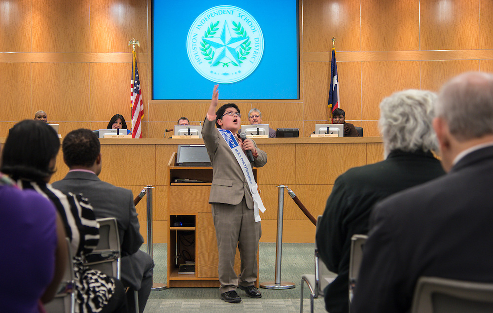 Richard Espinoza Garza recites his Martin Luther King, Jr. Oratory award winning speech during the Houston ISD Board of Trustees meeting, February 11, 2016.