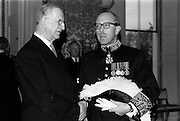 13/02/1964<br /> 02/13/1964<br /> 13 February 1964<br /> British Ambassador presents Credentials at Aras an Uachtarain. Picture shows Sir Geofroy Tory, K.C.M.G., the new ambassador chatting with President Eamon de Valera (left) after the ceremony.