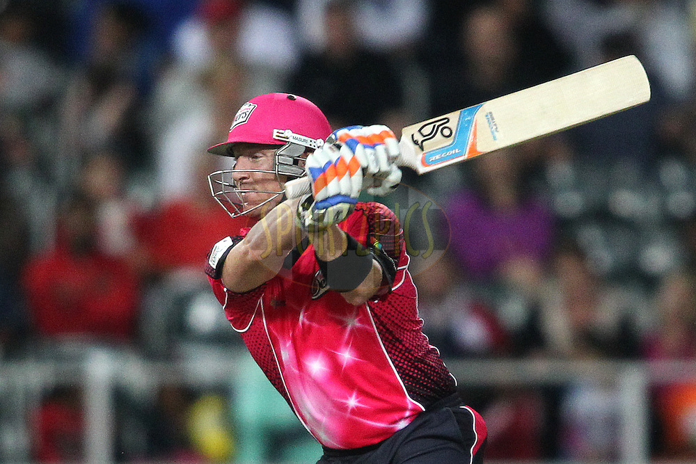 Sydney Sixers captain Brad Haddin attacks a delivery during the Final of the  Karbonn Smart CLT20 South Africa between the Sydney Sixers and the Highveld Lions  held at The Wanderers Stadium in Johannesburg, South Africa on the 28th October 2012..Photo by Shaun Roy/SPORTZPICS/CLT20