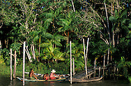 Canoe at Parrot Island, Amazon River near Belem, Amazon Delta, Amazonia, Brazil