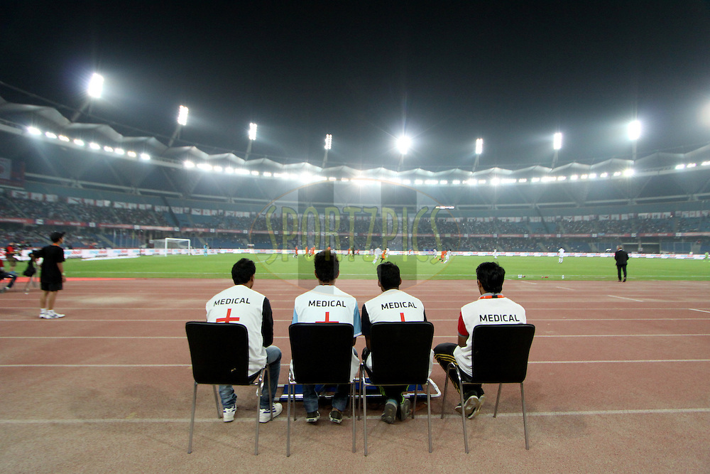 Medical staff during match 16 of the Hero Indian Super League between The Delhi Dynamos FC and NorthEast United FC held at the Jawaharlal Nehru Stadium, Delhi, India on the 29th October 2014.<br /> <br /> Photo by:  Arjun Panwar/ ISL/ SPORTZPICS
