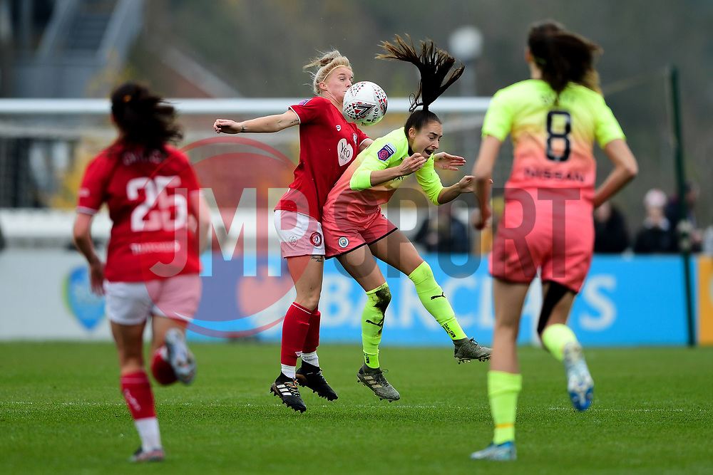 Jasmine Matthews of Bristol City contends for the aerial ball with Tessa Wullaert of Manchester City Women - Mandatory by-line: Ryan Hiscott/JMP - 24/11/2019 - FOOTBALL - Stoke Gifford Stadium - Bristol, England - Bristol City Women v Manchester City Women - Barclays FA Women's Super League