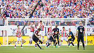 Fabian Johnson of the USA national soccer team takes a free kick that goes wide open against Paraguay during a Copa America Centenario group stage matchup at Lincoln Financial Field in Philadelphia on Saturday June 11, 2017. The U.S. defeated Paraguay 1-0.