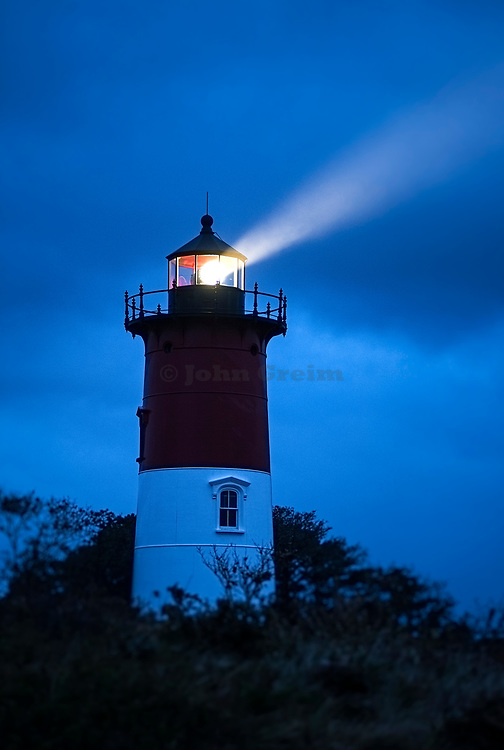 Nauset Lighthouse during a stormy night, Eastham, Cape Cod, Massachusetts, USA.